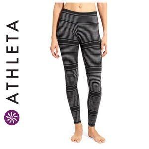 Athleta Black Striped Chaturanga Leggings